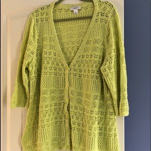 C.J Banks Open Knit Button  Sweater 3x
